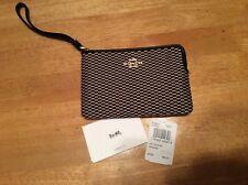 New $65 COACH F13311 Jacquard Tan Black Leather Wristlet BAG Corner Zip Handle