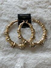 "New York Style Bamboo Hoops Earring 3.25"" door knocker hoop Gold Tone Cardi B"