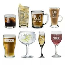 Personalised Glass Engraved Drinkware Gift Your Own Message Glassware Birthday
