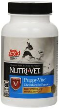 NUTRI VET PUPPY VITE LIVER CHEWABLE SUPPLEMENT DOG 60 COUNT. FREE SHIP TO USA