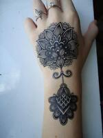 Black Flowers Lotus Mehndi Temporary Tattoo Stickers Body Art Waterproof Henna
