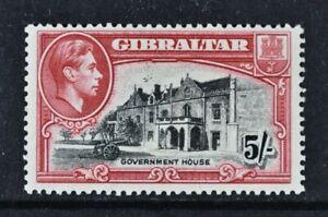 GIBRALTAR, KGVI, 1938, 5s. black & carmine value, Perf 13.5, SG 129a, MM Cat £50