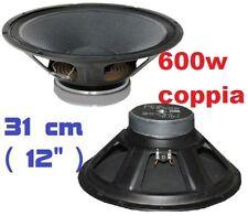 """COPPIA WOOFER SUB RICAMBIO 300W 12"""" (31 cm) X CASSE ACUSTICHE PASSIVE ATTIVE 2pz"""