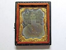 RARE ANTIQUE TIN TYPE PHOTO PORTRAIT A BEAUTIFUL TODDLER GIRL GOLD LEAF LEATHER