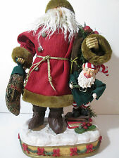 Vintage Santa with Elf Animated Figure Plays Music and Moves 17""