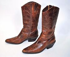 Matisse Kansas Distressed etched Brown Leather Western Boots Inside Zip Sz 7M