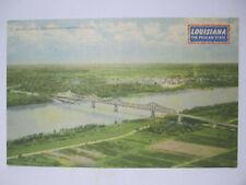 BRIDGE OVER MISSISSIPPI RIVER POSTCARD BATON ROUGE LA LOUISIANA 1930s