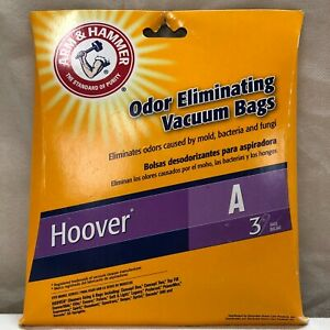 ARM & HAMMER ODOR ELIMINATING VACUUM BAGS - HOOVER A - PACK OF 3 - NEW