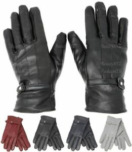 Women's Classy 100% Black Leather Winter Warm Gloves w/ Fur Lined Gloves