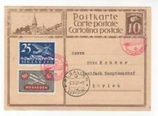 Graf Zeppelin 1929 Switzerland Flight Card ~ C5 & C9 ~ Airship