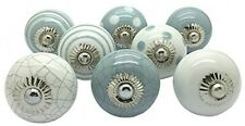 8 Ceramic Door Knobs Vintage Shabby Grey White Chic Cupboard Drawer Handle DIY