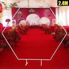 New listing 2.4m Hexagon Arch Wedding Iron Shelf Backdrop Stand Flower Display Bridal Party