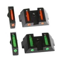 Tactical Front Rear Fiber Optic Combat Sight Fit Glock Standard Models 17L,23,33