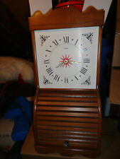 Vtg Welby Clock Wood Roll Top Tambour Door Wall Cabinet