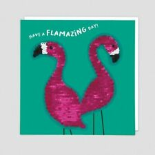 Flamingo Birthday Card Reversible Flamingos Seguin Patch - Have a Flamazing Day