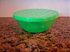 """New Plastic Bowl With Lid  6.5"""" Diam Green Circles"""