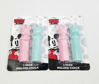 (Lot of 2) Disney Mickey Mouse & Friends 2  Molded Chalk Set. 4 Total Blue Pink