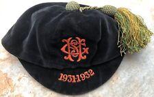 More details for circa 1931-1932 black velvet sports school honour cap  rowans glasgow birmingham