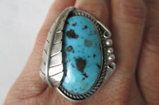 Vintage Large Navajo Native America Sterling Silver Turquoise Ring Size 6.25-6.5