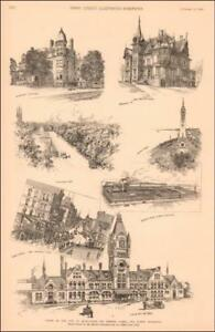 MILWAUKEE, WISCONSIN, VIEW OF STREETS, PARKS, BUILDINGS, antique engraving 1889