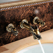Antique dragon Design widespread bathroom Lavatory sink Faucet wall mounted