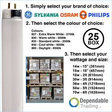 "BOXES OF 25 T8 FLUORESCENT TUBES 18"" 38"" 2ft 4ft 5ft 6ft 15w 18w 30w 36w 58w 70w"