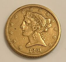 RARE! 1861 $5 CIVIL WAR LIBERTY HEAD GOLD COIN NO MOTTO LOW POPULATION
