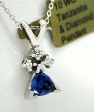 TANZANITE 0.81 Cts & DIAMOND PENDANT 10K WHITE GOLD *Free Shipping & Chain