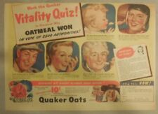"Quaker Cereal Ad: ""Vitality Quiz"" 1940's Size: 11 x 15 inches"