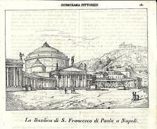 Stampa antica NAPOLI Chiesa San Francesco di Paola 1839 Old antique print