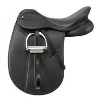 EquiRoyal Newport Dressage Saddle Wide Tree Deep Seat U-Shaped Billets