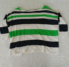 Lilly Pulitzer Striped Alanis Slouchy Sweater Top Size XS White Green Blue Knit