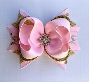 """Handmade  5"""" Pink And Gold Stacked Boutique Hair Bow"""