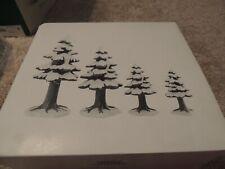 Dept 56 Village Porcelain Pine Trees - Set of 4 -Retired - 4 Different sizes
