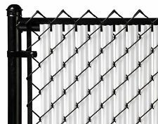 Chain Link White Single Wall Ridged™ Privacy Slat For 4ft High Fence Bottom Lock