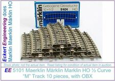 "EE 5101 GOOD Box of 10 Marklin HO ""M"" Track Stubby Track 1/2 Standard Curve"
