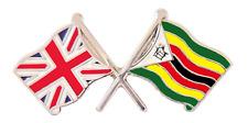 Zimbabwe Flag & United Kingdom Flag Friendship Courtesy Pin Badge