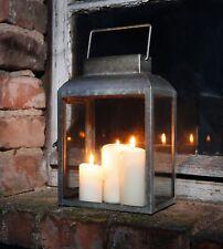 """Metall Laterne """"Basical Chic"""" Garten Windlicht Antik Optik Kerzen Halter Ständer"""