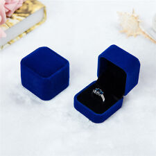 Velvet Engagement Wedding Earring Ring Pendant Jewelry Display Chic Box Blue