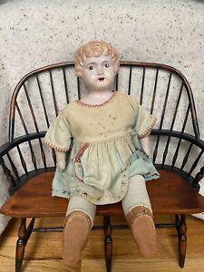 "Antique Minerva Doll Germany Tin Metal Head Handpainted 17"" Original ClothesCUTE"