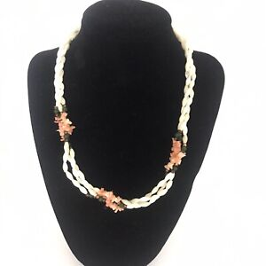 Braided Bead Necklace Triple Strand Pink Green Cream 16""