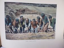 russie: Gravure 19° in folio couleur /Equipe de terrassiers