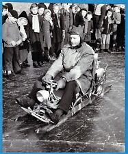 amazing large vintage photo of a motor sled sledge luge foto Schlitten UK c 1965