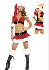 Ladies Sexy Santa Christmas Fancy Dress Outfit Costume Lingerie  8-12 #068