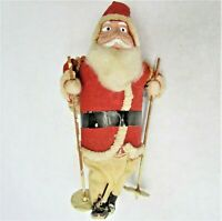 4 inch Santa Claus NO Skis Skiis Plaster Cotton Cardboard Made in Japan Vintage
