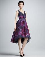 Neiman Marcus Target Lela Rose Purple Floral Watercolor Silk/Cotton Dress NWOT