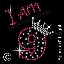 """""""estoy 9"""" Chica de diamantes de imitación de transferencia de la revisión de hierro en Motif Con Un Regalo Gratis"""