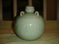 Antique Chinese Pottery Decanter-Turquoise Color Chinese Round Decanter-4 Hook