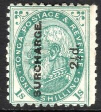 Tonga 1894 Surcharge deep-green 2.5d on 1/- perf 12X11.5 mint SG24b