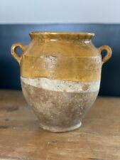 More details for 19th century french antique pottery glazed confit pot mustard rustic restored